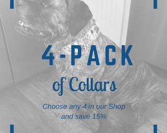 "Set of (4) 2"" Wide Dog Collars  - for Mastiff Great Dane Doberman Pitty Big Dog by LaVilla"