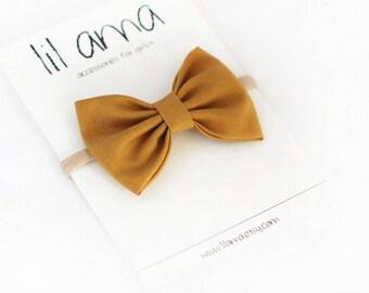 Mustard Hair Bow - Baby Headband - Baby Girl Headband - Newborn Headband - Infant Headband - Baby Hair Bows - Fabric Bow - Nylon Headband