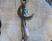 Bronze Mermaid Moon Rearview Mirror Accessory - Mermaid Jewels - Pink Crystal Points - Car Accessory - Car Jewelry - Mermaid Gifts - Beach