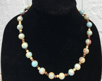 Blue Brown Beaded Matinee Necklace