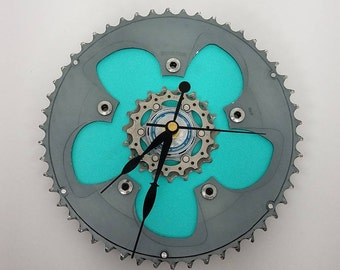 bicycle gear wall clock aqua blue bicycle gifts bike gear clock gifts for