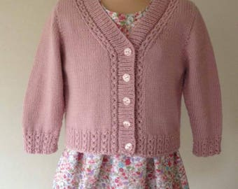 Beautiful Handknitted Baby Cardigan with Mock Cable.
