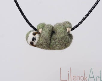 Needle Felted Sloth necklace in olive green color