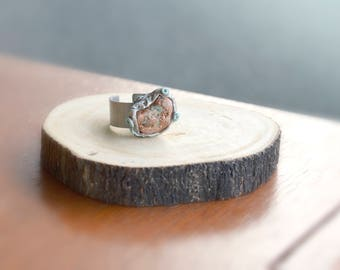 Chunky Abstract Raw Copper and Clay Ring, Natural Organic Shape Statement Adjustable  Stainless Steel Band Big Boho Finger Ring