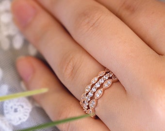 Three Set Mix & Matched-Art Deco Full Eternity Ring-Stackable Set Rings-Wedding Band Ring-Rose Gold Plated-Sterling Silver [65429RG-3A]