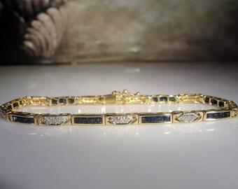 "14K Sapphire and Diamond Bracelet, Blue Sapphire Tennis Bracelet, Sapphire Bracelet, Diamond Bracelet, .50 Diamond TCW, Vintage Bracelet, 7"""