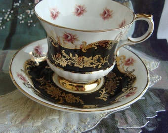 Paragon - Pembroke Black - Fine Bone China England - Vintage Tea Cup and Saucer - Black Middle, Pink Roses, Gold Scroll and Trim
