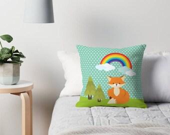 Kids Room Decor , Nursery Pillow , Throw Pillow , Fox and rainbow Pillow , Decorative children's pillow ,  kids Pillow , kids Cushion