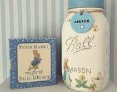 Hand made, personalised, Beatrix potter,  Peter rabbit mason jar. Baby gift, nursery decor, new baby, personalised gift