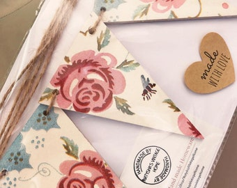 Hand made Emma Bridgewater 'rose & bee' style triangle bunting, Stocking filler