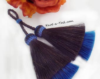 LARGE, horsehair tassels, ROYAL BLUE, thick double layer, double, horse hair tassels, amazing horsehair necklace, horsehair keychain, tassel
