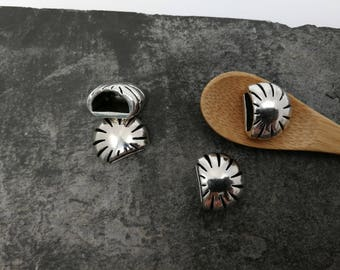2 pcs tip craft, half moon wrap cord boho ethnic, silver, 18 x 14 mm