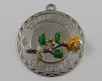 Enamel Yellow Rose of Texas With Yellow Stones & Pearl Sterling Silver Vintage Charm For Bracelet