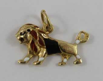 Enamel Lion 14K Gold Vintage Charm For Bracelet
