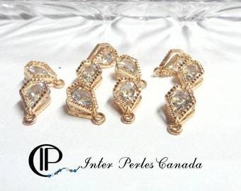 10pcs crystal ab zircon 7mm breloque en alliage, or, 14x10x6mm - perle pendentif pour bracelet, collier, boucles d'oreilles trou 1mm