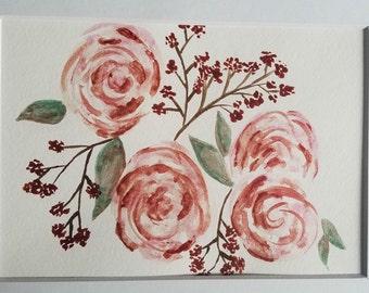 Pink berry flowers, original watercolor painting