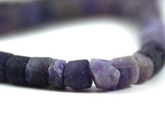 Amethyst Matte Rough Rustic Heishi 10mm
