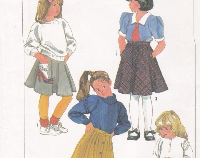 FREE US SHIP Simplicity 7246 Sewing Pattern Uncut Retro 1990s 90's Girls Flared Button Skirts High Heel Shoe Pocket with Ruffle Sock Cute !