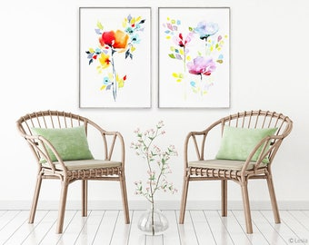 The Vivid Duo, right watercolor flowers, print set of 2, flower painting, flower art print,  colorful flower art, watercolor flower