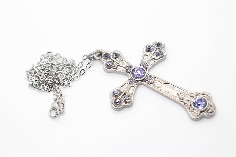 Silver cross pendant large cross necklace large cross pendant silver cross pendant large cross necklace large cross pendant silver cross necklace purple cross purple gem necklace cross jewelry aloadofball Images