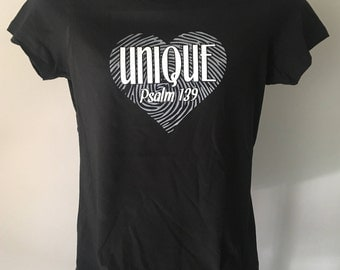 Womens Christian Tee shirts Psalm 139.  You are UNIQUE and precious to God