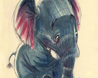 ELEPHANT Wall Art - Animal Art Print - David Colman Original Illustration