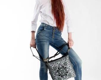 Black canvas tote, canvas crossbody bag, black messenger bag, canvas backpack, Ukrainian embroidery, Ukrainian gift.