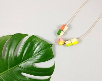 Tropical Necklace - Yellow, Green, Ombre | Statement Necklace | Gift for her | Geometric Jewellery | Ombre Necklace | Geometric necklace
