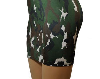 Mini Skirt Green Black White Camoflage Stretch Bodycon 12 inch Short Camo Lycra S63