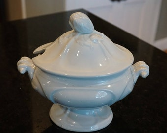 Antique J Meir and Sons Memnon Shape Sauce Tureen/ Ironstone/ Staffordshire Tunstall Stoke-on-Trent/ Pedestal Tureen/ Beautiful Finial