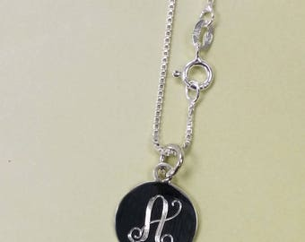 Sterling Silver Monogram Circle Pendent with Sterling Silver Box Chain