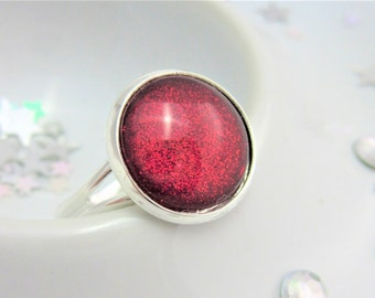 Ruby Red Slippers Glitter Nail Polish Cabochon Adjustable Ring with Silver Plated Setting, Nail Varnish, Lead Nickel Free, Blood Red