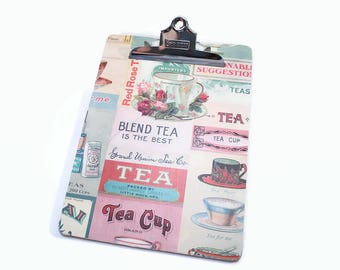 Clipboard, Decorative Clipboard, Tea, Tea Cup, Tea Pot, Tea Lover, Memo Holder, Lap Desk, Nurse Gift, Teacher Gift, Office Organization