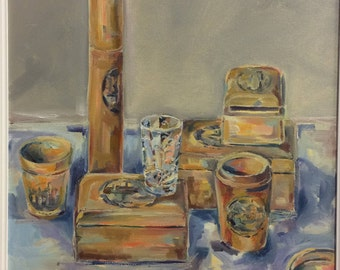 Original framed painting by Kirsty taylor oil 'Mauchline Ware'