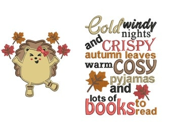 UK version hedgehog autumn winter reading cushion book pocket pillow embroidery machine design file image and quote 4 sizes included