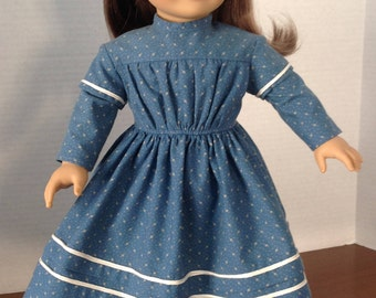 1850's Day Dress, French Quarter Day Dress, 18 inch doll historical dress, blue 1850's doll dress, long sleeve historical doll dress