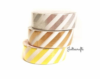 Silver, Gold & Rose Gold Foil Striped Washi Tape
