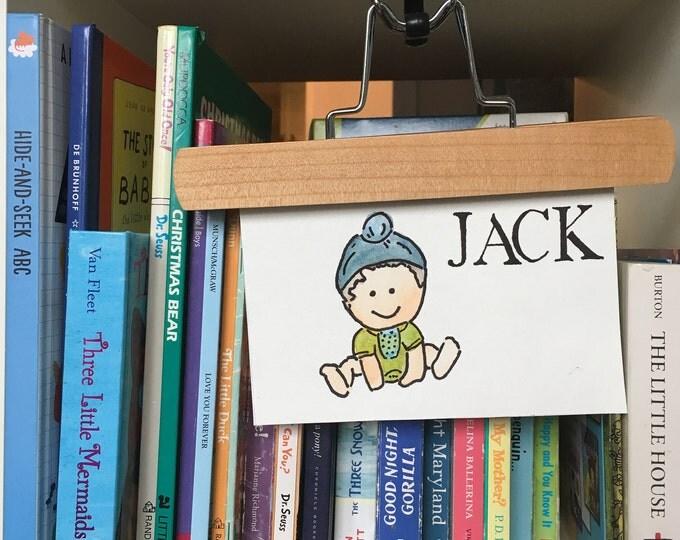 MINI Custom Watercolor Character Portrait- BABY Mini, Child with Bib and NAME, Kid Art, Playroom Art, 5x7''