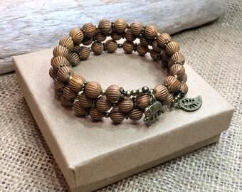 Wooden bracelet, triple wrap bracelet, memory wire elephant bracelet, elephant jewelry, birthday gift, Christmas gift, handmade gift for her