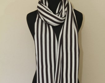Summer/Spring black and white striped cotton scarf - oblong, light weight scarf - perfect gift for her -