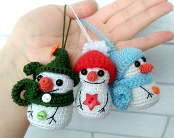 Crochet Snowmen Christmas tree ornaments Set Christmas decorations Holiday home decor Christmas in july Party favors Small Christmas gifts