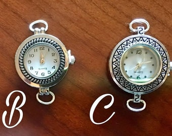 Silver 2 Loop Watch Faces for Interchangeable Watch Bracelet