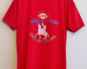 90's Cody, Wyoming Cowboy Dairy Queen Red T-Shirt