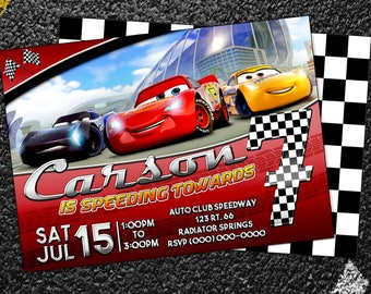 Custom Cars 3 Birthday Invitation - 5x7 or 4x6
