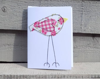 Handmade Applique Free Motion Embroidery Greetings Card Quirky Long Legged Bird White Fabric with Pink Roses & Gingham Heart Blank Inside