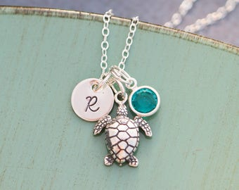 Turtle Necklace • Turtle Dainty Sea Turtle Necklace Sea Turtle Charm • Personalized Turtle Custom • Turquoise Bridesmaid Gift Turtle Jewelry