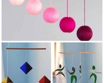 Set of 3 Montessori mobiles. The Dancers, the Octahedrons, the Gobbi.