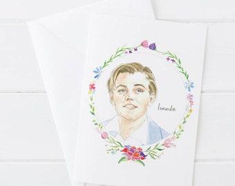 Leonardo DiCaprio, 1990s, Titanic, Leo Illustration Greeting Card, Birthday Card 5x7