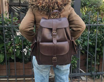 Large Backpack, Brown Leather Backpack, Leather Rucksack, Made in Greece from Full Grain Leather, EXTRA LARGE.