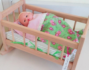 "Rocking doll crib, doll crib bedding, wooden doll cradle, 15"" crib, doll cradle bedding, doll crib bedding, doll mattress, doll furniture"